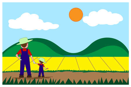 Farmer and boy stand holding hand ,Look to the growing garden plants. 
