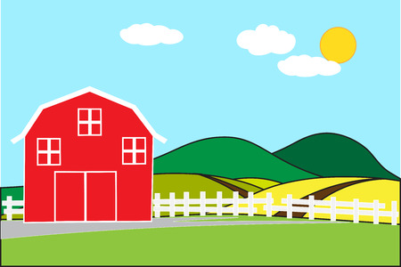 Red barn on a hill in the rural area of rice fields on a bright day and empty space for text. Background concept development for business cultivation and flat cartoon wide angle view. Illustration