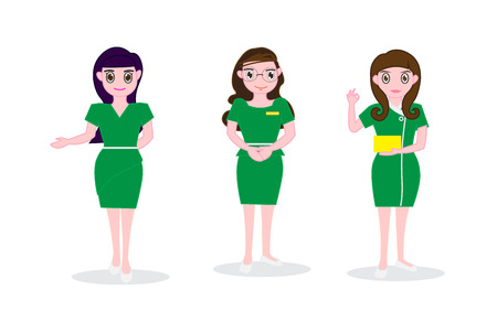 Long hair woman wearing green dress , Reception service and managers worker bank Idea or restaurant business -Vector Illustration of eps 10 Illustration