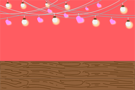 Chandelier decorated the brightly and pink heart On a sweet background, Empty below with copy space for text_EPS10