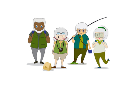 Old men and women Healthy body doing outdoor activities ,walk in the forest ,fishing and nature photography.  Flat cartoon and concept of activities elderly people. -EPS10