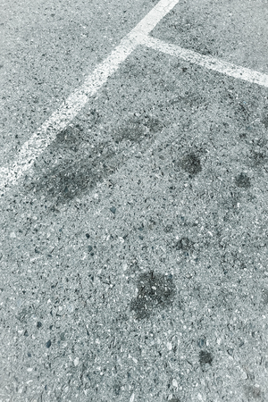 Top view of white lines on the asphalt road , Empty with copy space for text.