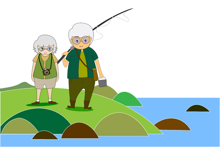 Old men and women Healthy body doing outdoor activities ,fishing and travel nature photography.  Flat cartoon and concept of activities elderly people. -EPS10 Illustration