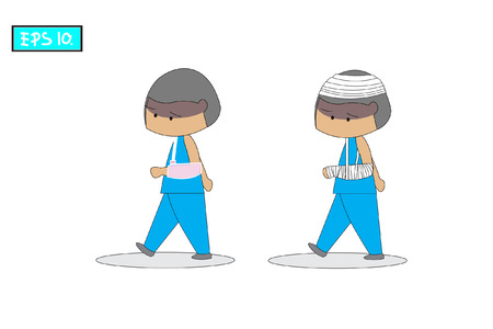 People walking white background and wearing a blue dress. He was injured with broken arm and plaster cast. Concept flat style vector medical illustration._EPS10