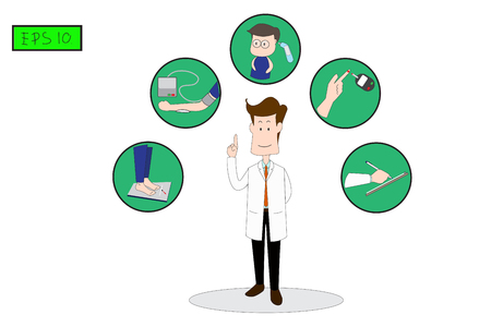 Doctors standing for diabetes screening white background. such as blood pressure,weight,Fever,diagnosed and blood test. Concept flat style vector medical illustration._EPS10