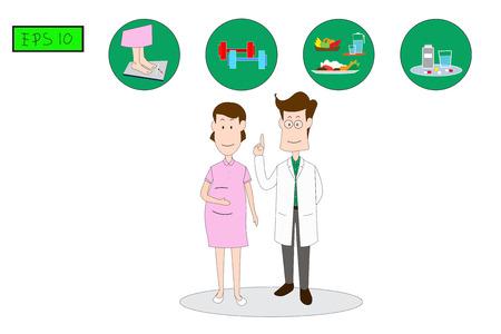 L'homme médecin se tient debout pour expliquer aux femmes, Précautions à prendre pour prévenir le diabète gestationnel Inertie. L'illustration médicale de vecteur de style plat de concept recommandent. -EPS10 Vecteurs