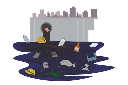 Garbage that flows through the sewer that came from the city, it made the fish unable to live Until it is water pollution.