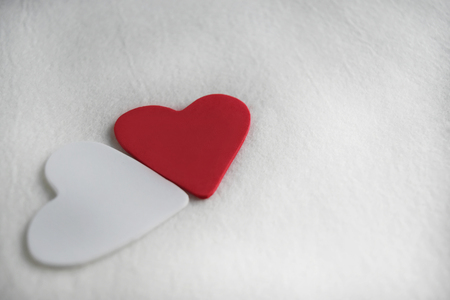 Red heart on white mulberry paper. Concept the day of love Valentine and empty space for text . Stock fotó