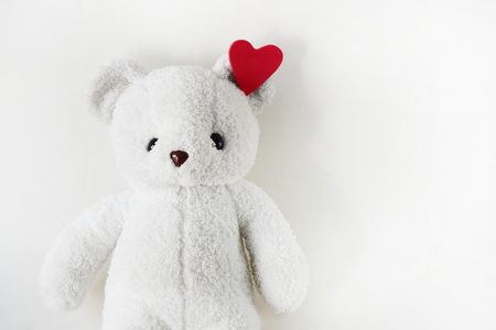 White teddy bear and empty space for text.