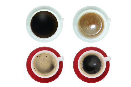 collection coffee top view isolated , isolated on white background with clipping path. Stock fotó