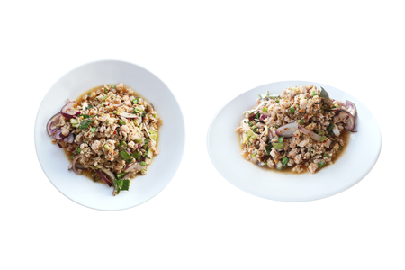 larb moo Isan style Thai food ,spicy minced pork salad isolated on white background with clipping path.