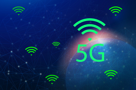 5G Internet network and intelligent connection , Communication concepts. Stock fotó