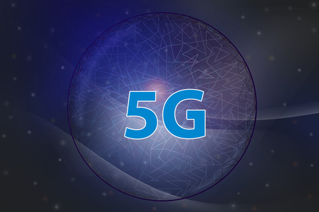 5G Internet network and intelligent connection , Communication concepts. Dark blue tone background Abstract soft curve.