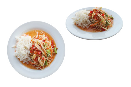 Spicy and sour salad made with papaya salad ,Popularly eaten with noodles (Made from rice flour). isolated on white background with clipping path. Speaking Thailand