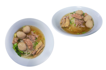 stew meat clear soup noodles , the food with the seasoning beef ball and vegetable. isolated on white background with clipping path. isolated on white background with clipping path. Stock fotó