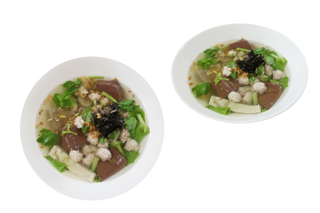 Boiled pork blood soup with flavoring herbs, Popular food can be eaten anytime. Speaking Thailand