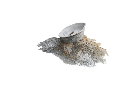 Hoe in concrete mixer plastic on piles of gravel and sand piles,isolated on white background with clipping path. Stock fotó - 126571813