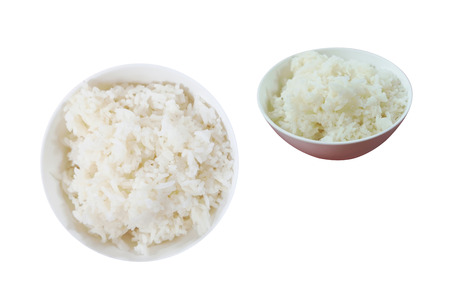 Steamed rice in a small bowl for eating with asian food, isolated on white background with clipping path. Speaking Thailand