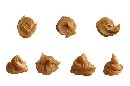 Top and side view ,Peanut butter isolated on white background with clipping path. Stock fotó