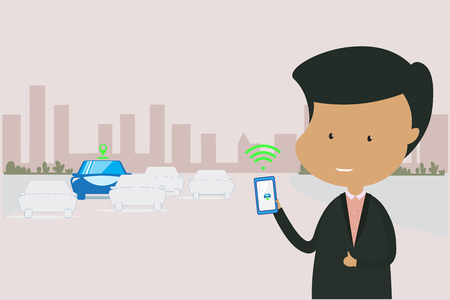 Businessman character wears a black suit standing.holding smartphone turn on communication with vehicle for position (GPS) and safety.Empty space for text