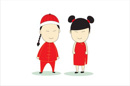 Cartoon boy and girl wearing red Chinese New Year dress. Concept flat style vector holidays illustration recommend. Stock fotó - 126571960