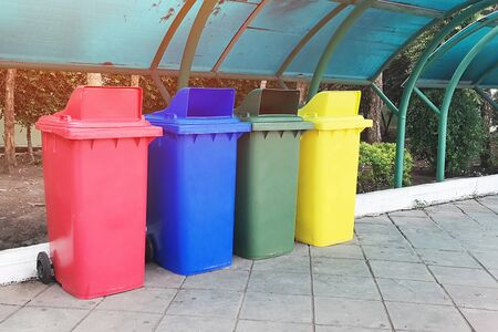 Plastic waste bin, Color separation according to usage.