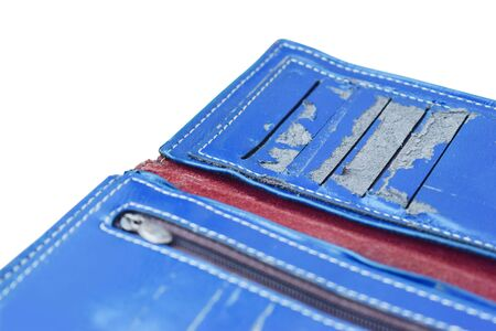 Blue wallet breakage was because of the deterioration. Artificial leather material. Stock fotó - 142951317