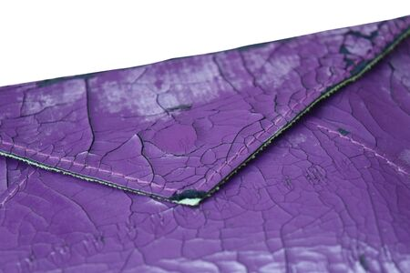 The artificial old leather bag purple. Broken pattern texture background. Stock fotó - 142131457
