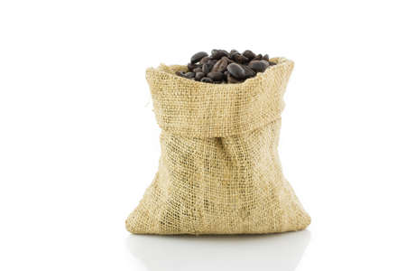 hessian bag: coffee beans in bag isolated on white background