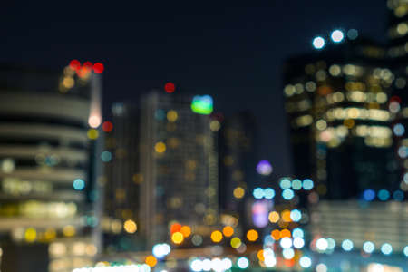 Abstract urban night light bokeh background, Blurred Photo, city light at night view.