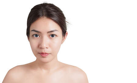 Beautiful young asian woman face close up isolated on white background.with clipping path Reklamní fotografie