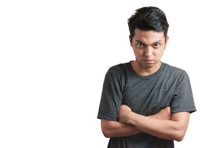 Emotion concept, Young asian man wear white t-shirt angry expression isolate on white background,Copy space with clipping path.