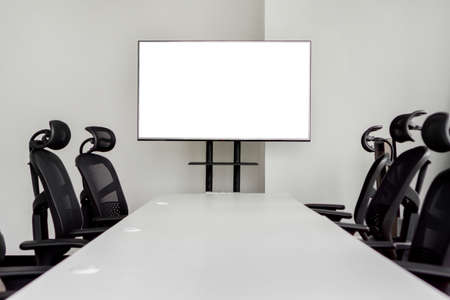 Blank TV LCD advertisement for adjust your message in meeting room, Mock up selective focus with clipping path. Reklamní fotografie