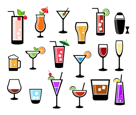 Cocktail vector set Illustration
