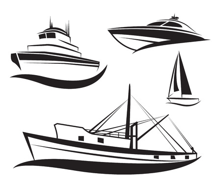 inflate: Vector black ship and boat set