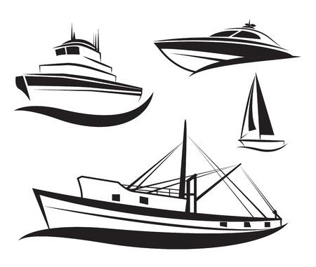 Vector zwart schip en boot set Stock Illustratie