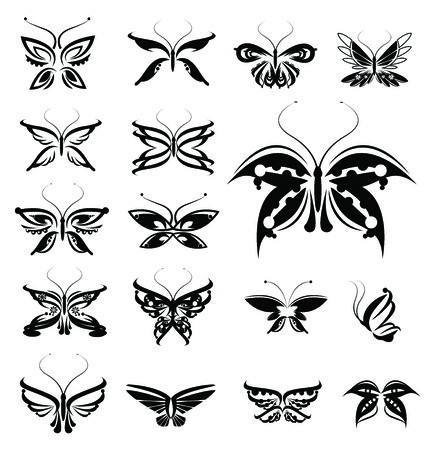 Butterflies silhouettes isolated Vector