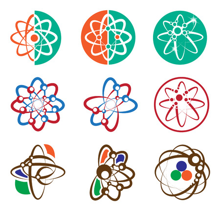 Atom elements set for science concept Vector
