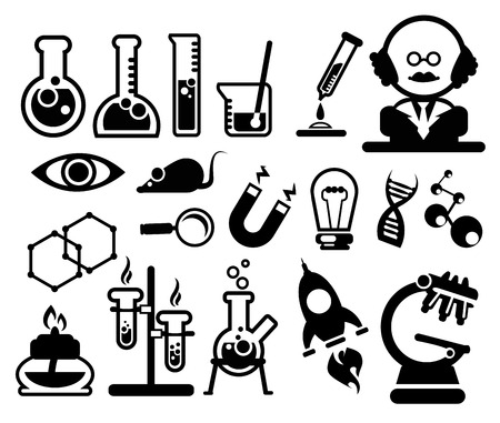 Science icons set silhouettes for use in design Vector