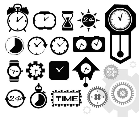 time, clock icons set, vector Vector