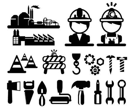 construction hat: vector black construction icons set  Illustration