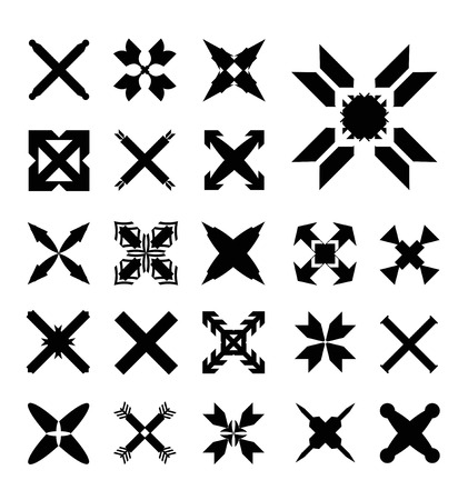 catholic mass: Set Crosses vector Illustration