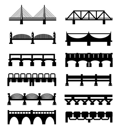 Vector geïsoleerd bruggen grote pictogrammen instellen Stock Illustratie