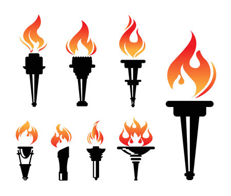 torch flame: torch icons set