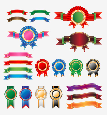 award ribbon rosette: Rosette Ribbon Set Vector