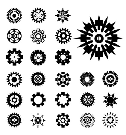 vector set gears isolated on white background