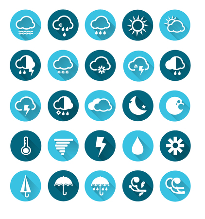 cold weather: Vector of Weather icons set , Vector circle buttons in flat design Illustration