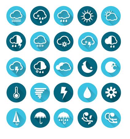 Vector of Weather icons set , Vector circle buttons in flat design Illusztráció