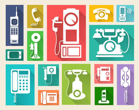 Telephone icons with long shadow, flat icons