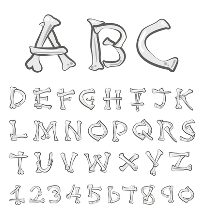Vector Bones Alphabet Set. ( Bones font)